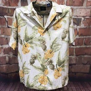 CARIBBEAN JOE Tan Floral Short Sleeve Shirt M